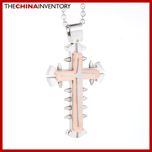 STAINLESS STEEL ROSE GOLD DOUBLE CROSS PENDANT P1615