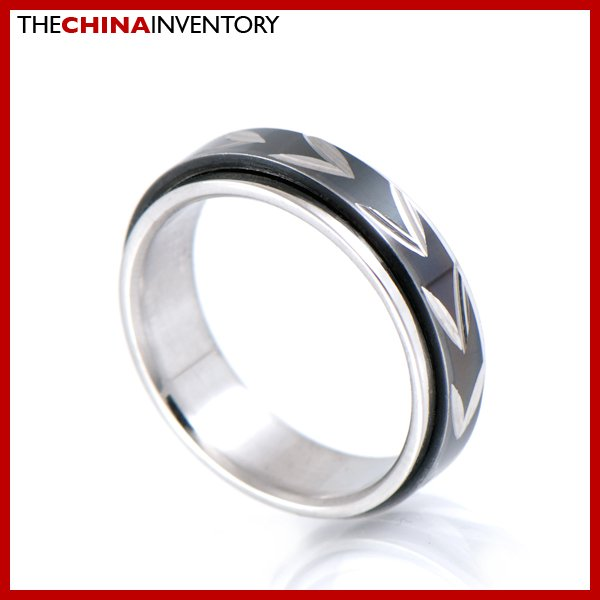 SIZE 8 STAINLESS STEEL BLACK SPINNING RING R0602B