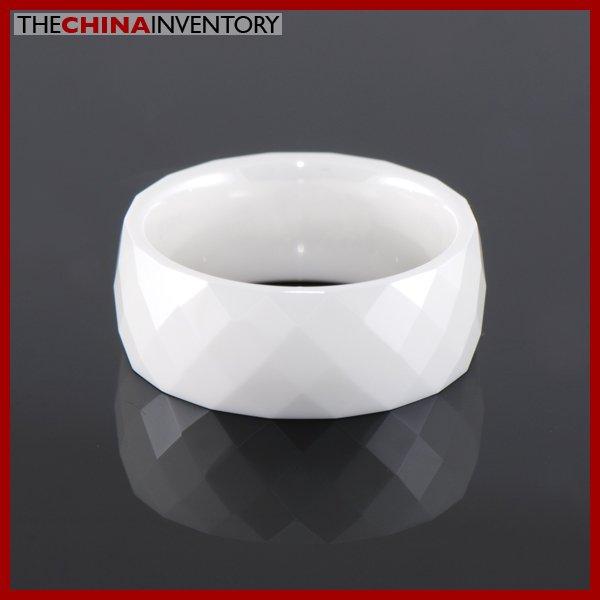 8MM SIZE 11 WHITE CERAMIC FACET WEDDING BAND RING R1407