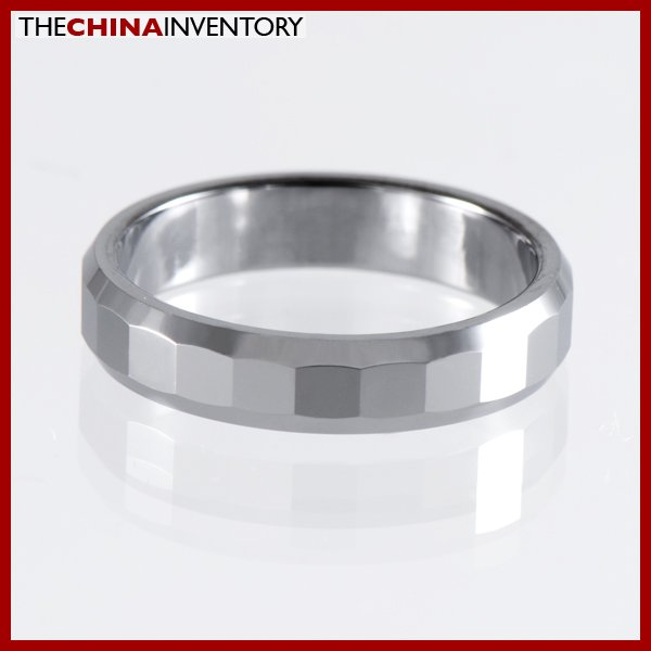 4MM SIZE 10 TUNGSTEN CARBIDE FACETED BAND RING R1208