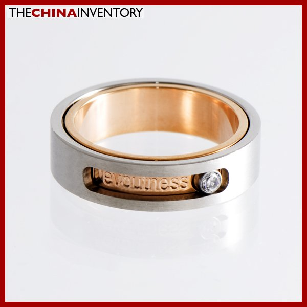 SIZE 9.5 STAINLESS STEEL CZ LOVE BAND RING R1205A