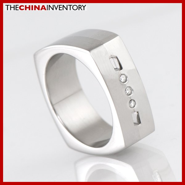 7.5MM SIZE 8 MEN'S STAINLESS STEEL CZ SQUARE RING R2101