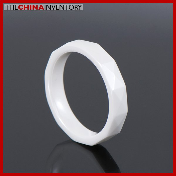 4MM SIZE 5 WHITE CERAMIC WEDDING BAND RING R0901B