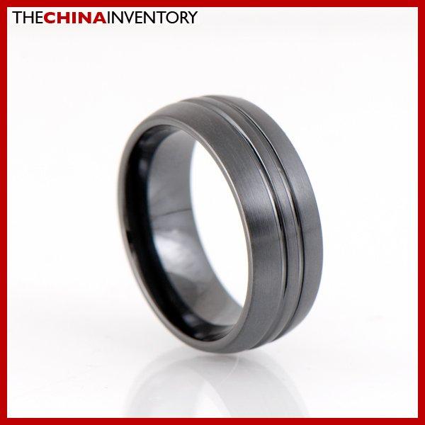 MEN'S 8MM SIZE 7 BLACK CERAMIC WEDDING BAND RING R1702