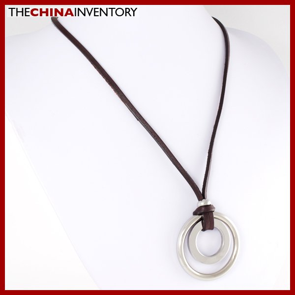 STAINLESS STEEL RING PENDANT LEATHER NECKLACE N0516