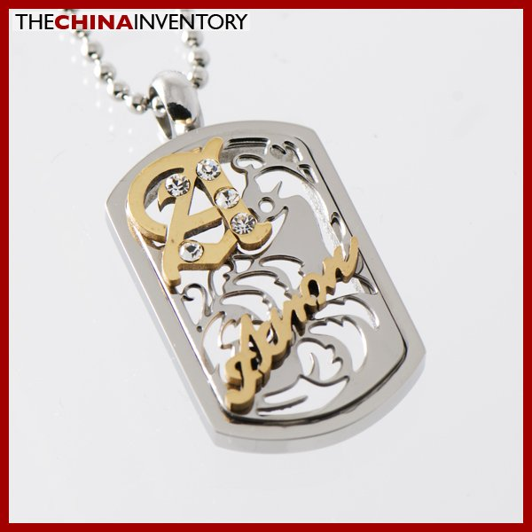 STAINLESS STEEL LOVE FILIGREE TAG PENDANT P1326