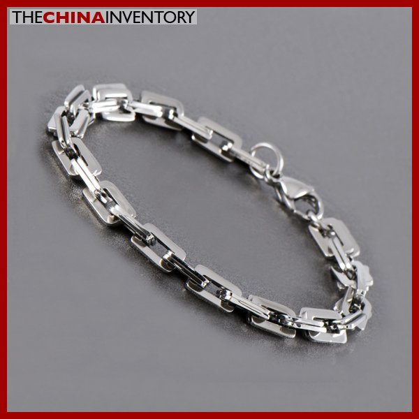 "9"""" STAINLESS STEEL RECTANGULAR CHAIN BRACELET B1001B"
