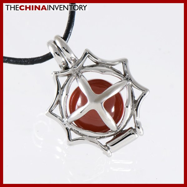 STAINLESS STEEL AGATE BEAD LOCKET PENDANT P1305A