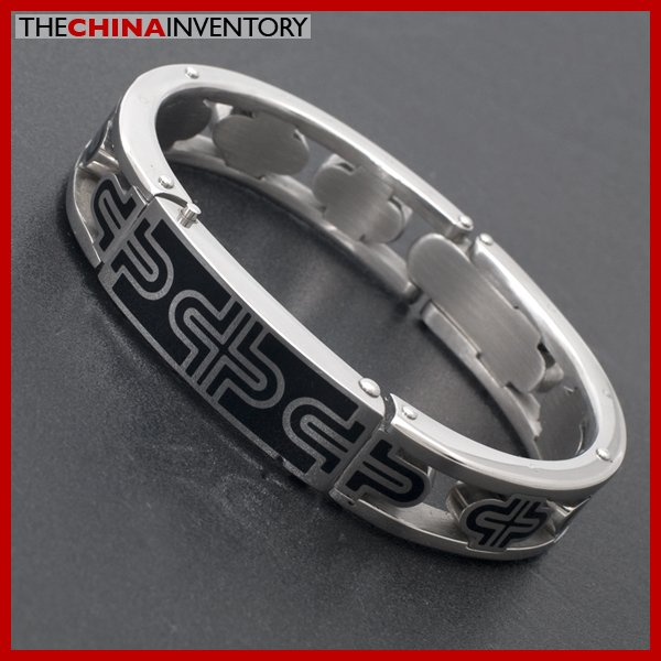 NEW MENS STAINLESS STEEL CROSS CUFF BANGLE B3906