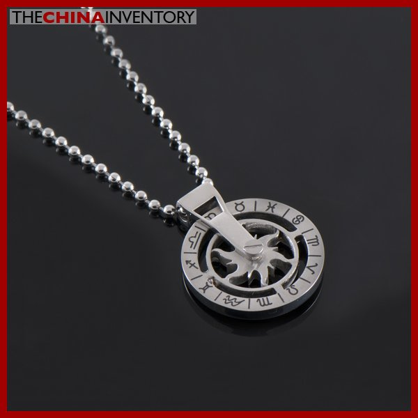 "1"""" STAINLESS STEEL ZODIAC ROUND TAG PENDANT P1401B"