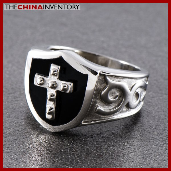 SIZE 10 STAINLESS STEEL AGATE SHIELD CROSS RING R0802