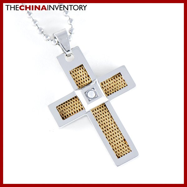 STAINLESS STEEL FILIGREE CROSS PENDANT NECKLACE P0351