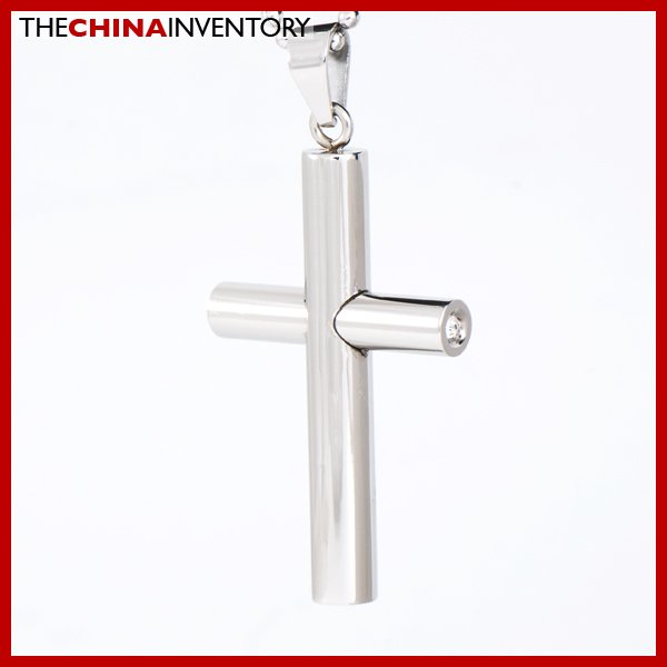 STAINLESS STEEL ROUND CROSS CZ PENDANT P1610