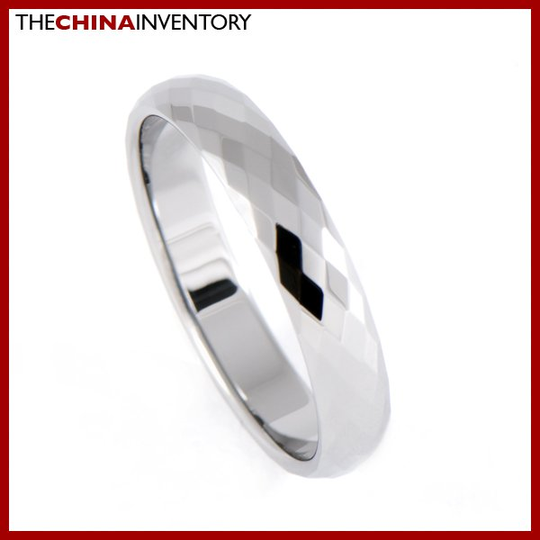 4MM SIZE 10 FACETED TUNGSTEN CARBIDE BAND RING R0909A