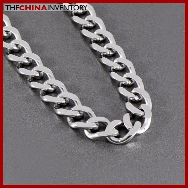 "24"""" STAINLESS STEEL DIAMOND CURB CHAIN NECKLACE N1014"