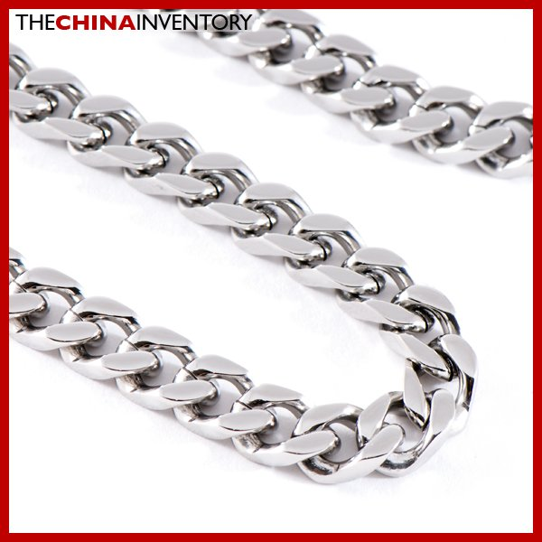 "28"""" 8MM STAINLESS STEEL DIAMOND CURB NECKLACE N0809B"