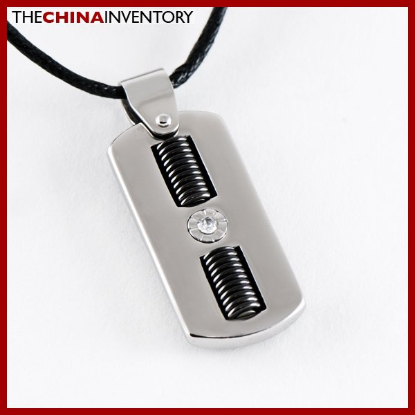 STAINLESS STEEL CZ TAG PENDANT P1414