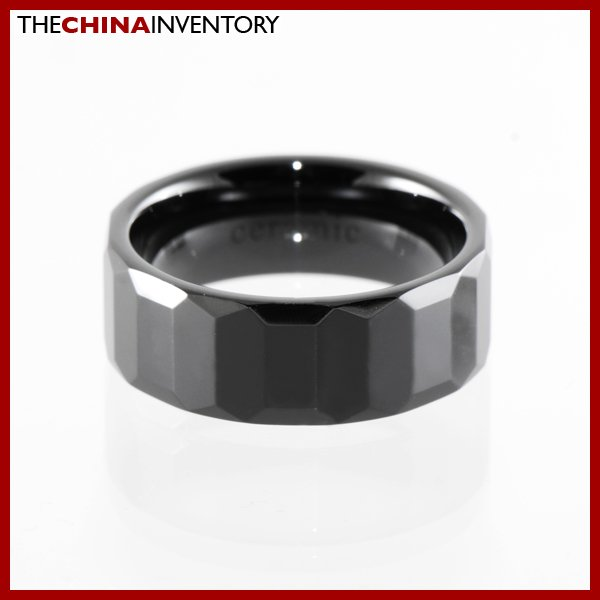 8MM SIZE 9.5 CERAMIC FACETED WEDDING BAND RING R1409