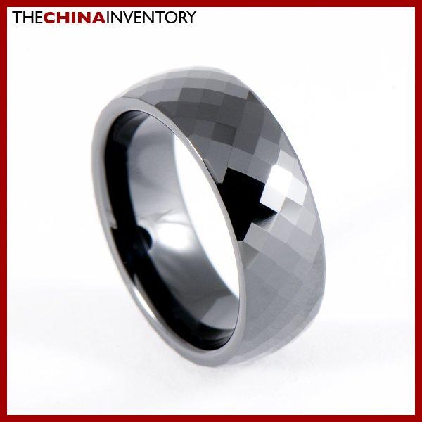 7MM SIZE 9 BLACK CERAMIC FACET BAND RING FOR MEN R0904