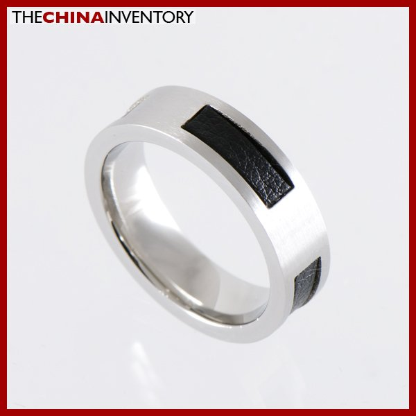 6MM SIZE 9 STAINLESS STEEL LEATHER FLAT BAND RING R1211