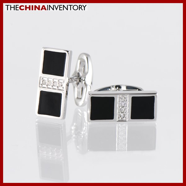 STAINLESS STEEL RECTANGULAR CZ CUFFLINKS C1401