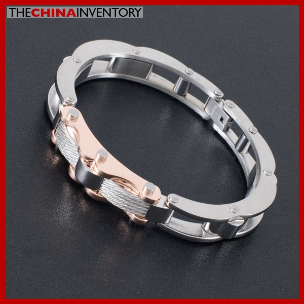 "6"""" ROSE GOLD STAINLESS STEEL CABLE CUFF BRACELET B1621"
