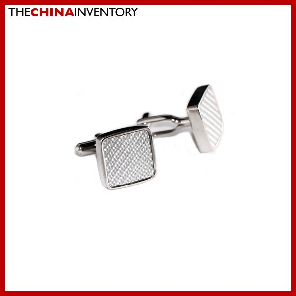 STAINLESS STEEL WHITE CARBON FIBER CUFFLINKS CUFF LINKS