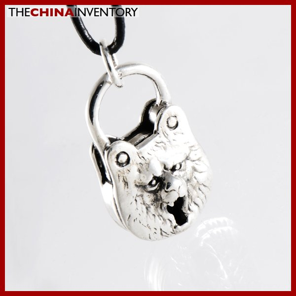 925 STERLING SILVER BEAR LOCK PENDANT NECKLACE SIL1203