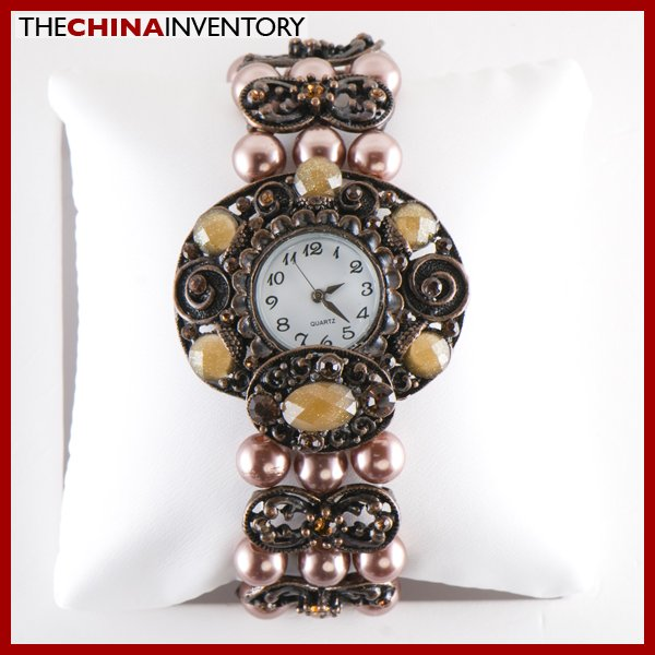 BRONZE TONE SIMULATE PEARL CRYSTAL BRACELET WATCH