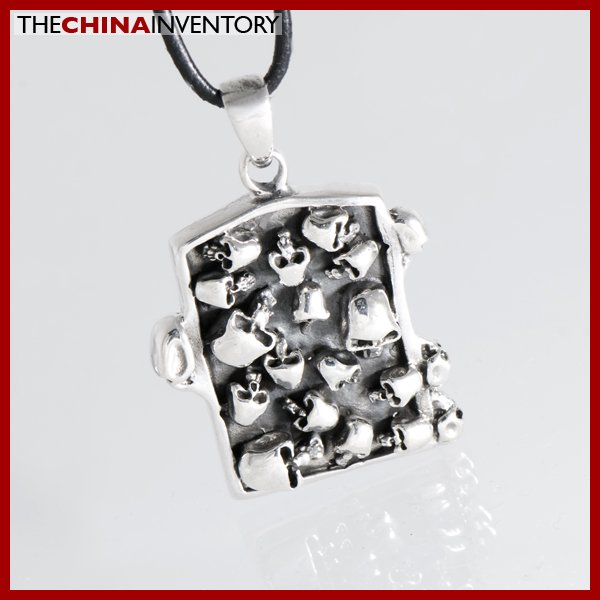 925 STERLING SILVER SKULLS TAG PENDANT SIL1202