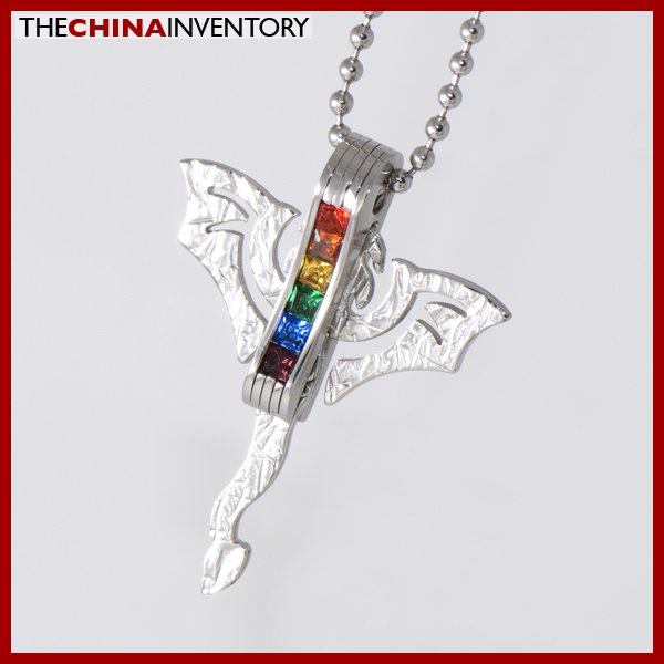 STAINLESS STEEL GAY LESBIAN RAINBOW PENDANT P1406