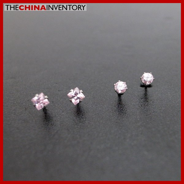 2 PAIRS STAINLESS STEEL PINK CZ STUD EARRINGS E4016H