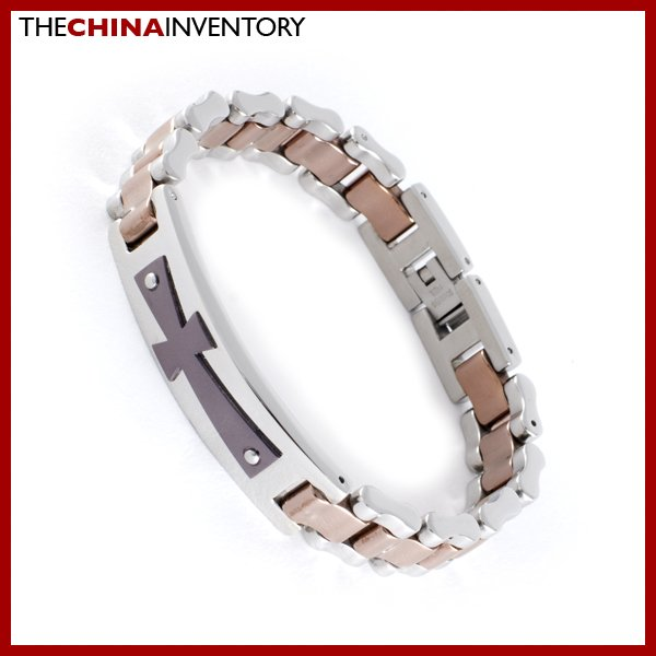 DESIGNER STAINLESS STEEL ELECTROPLATED CROSS BRACELET