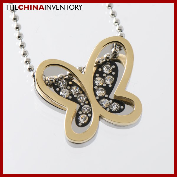 STAINLESS STEEL BUTTERFLY PENDANT NECKLACE P1325