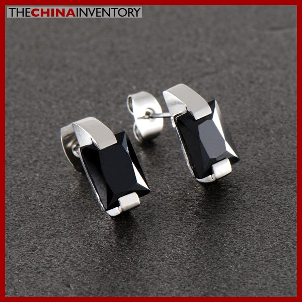 MEN'S CZ RECTANGULAR STUD PIERCED EARRINGS E0503