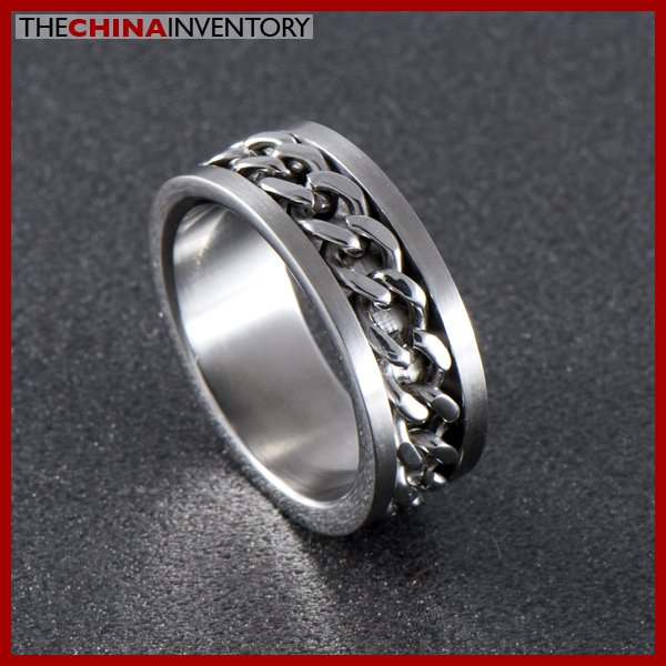STAINLESS STEEL RING WITH EMBEDDED CHAIN SIZE 9 R0317