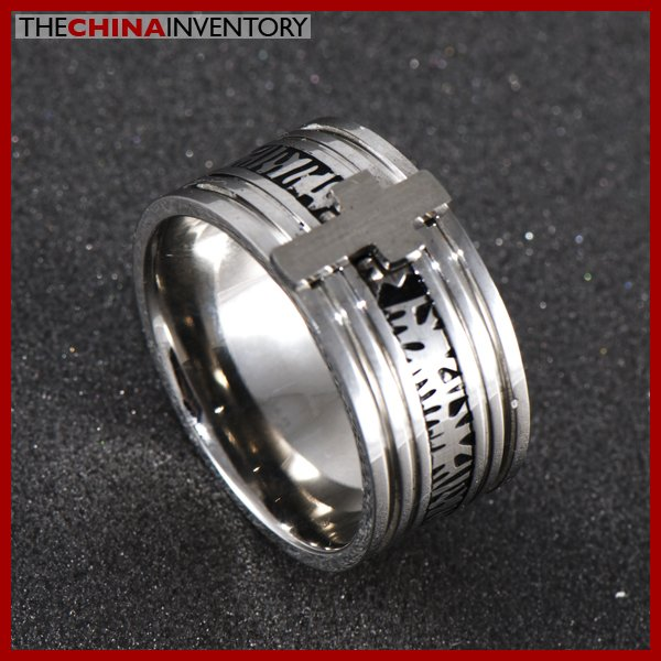 11MM SIZE 7 STAINLESS STEEL WIDE BAND CROSS RING R0403