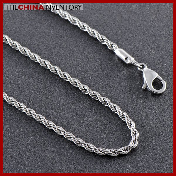 "24"""" STAINLESS STEEL TWISTED ROPE CHAIN NECKLACE N0712"