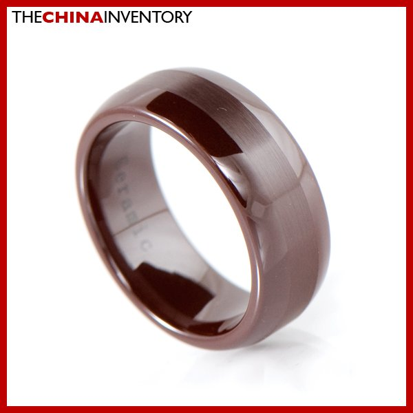 8MM SIZE 5 BROWN CERAMIC WEDDING BAND COURT RING R2002
