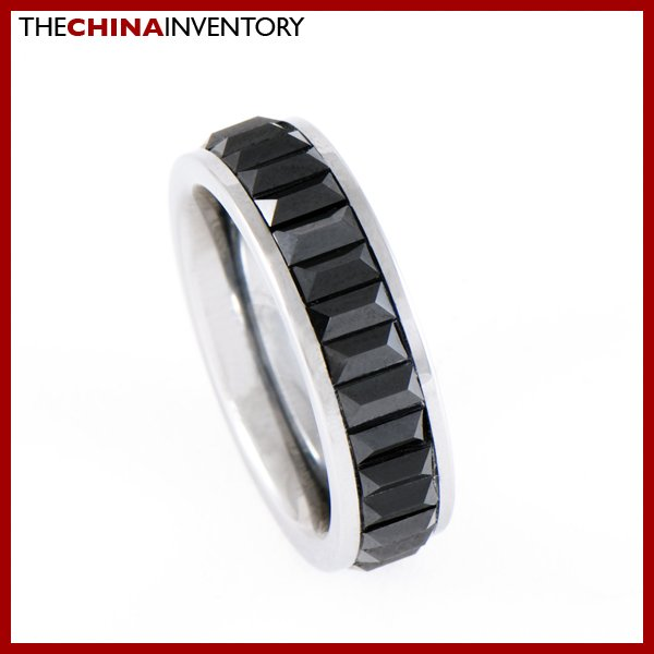 6MM SIZE 6 TUNGSTEN CARBIDE BLACK CZ BAND RING R0805