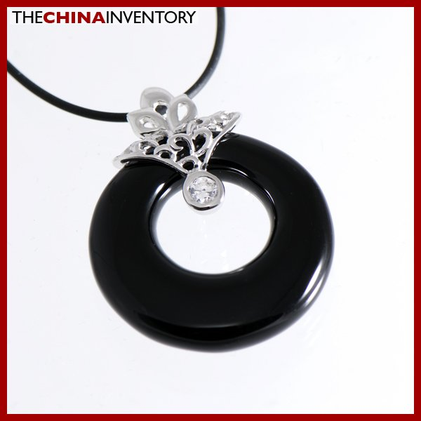 925 STERLING SILVER BLACK ONYX RING NECKLACE SIL1104