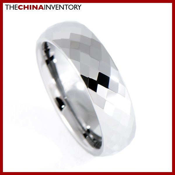 6MM SIZE 9.5 FACETED TUNGSTEN CARBIDE BAND RING R0909B