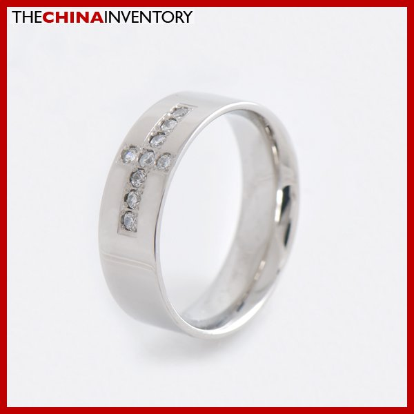 SIZE 6 STAINLESS STEEL CZ CROSS BAND RING R1501