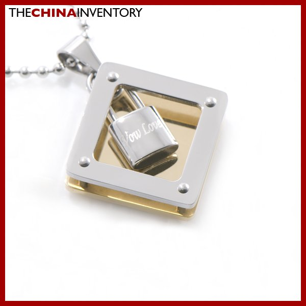 NEW STAINLESS STEEL TWO TONE SQUARE PENDANT P1309C