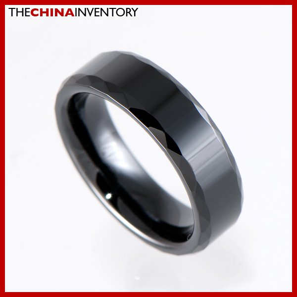 SIZE 9 BLACK CERAMIC FACETED WEDDING BAND RING R1202