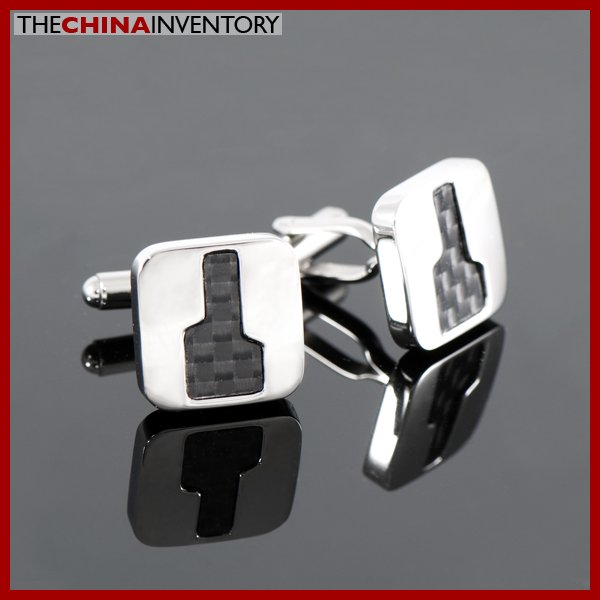 STAINLESS STEEL CARBON FIBER KEYHOLE CUFFLINKS C1101