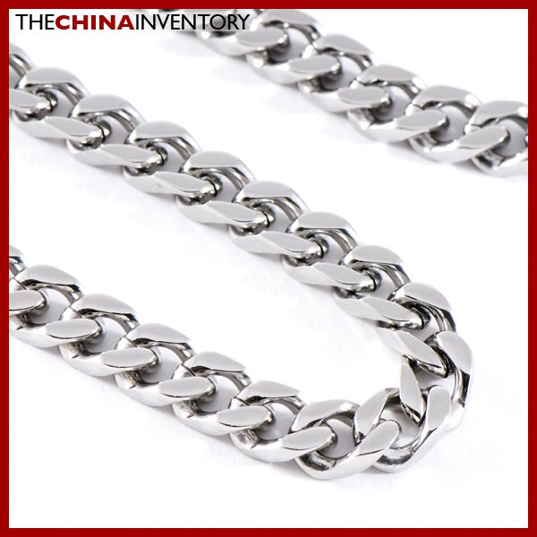 """22"""""""" STAINLESS STEEL DIAMOND CURB NECKLACE N0809"""