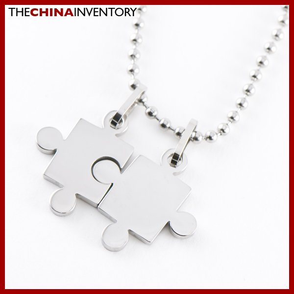 STAINLESS STEEL 2 PCS PUZZLE PENDANT NECKLACE P0114