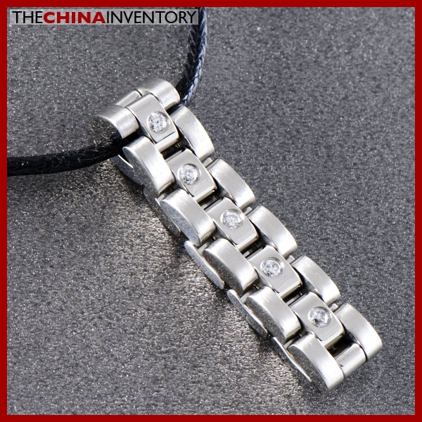 STAINLESS STEEL MINI CZ WATCHBAND RING PENDANT P0729