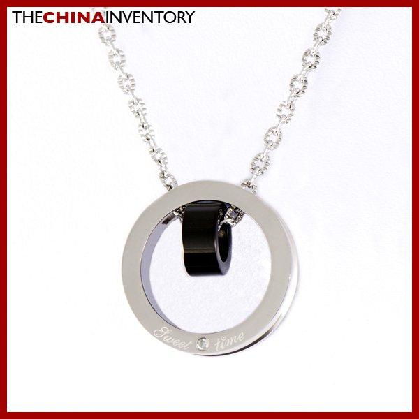 STAINLESS STEEL CIRCLE IN CIRCLE PENDANT NECKLACE N0417